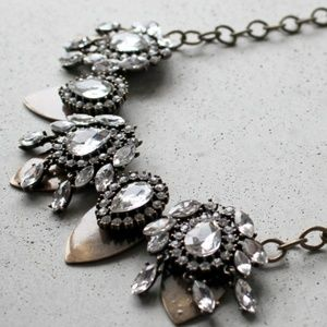 Anthropologie Crystal Cluster Statement Necklace